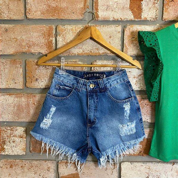 Short Jeans Hot Pant Destroyed Lavagem Média Lady Rock