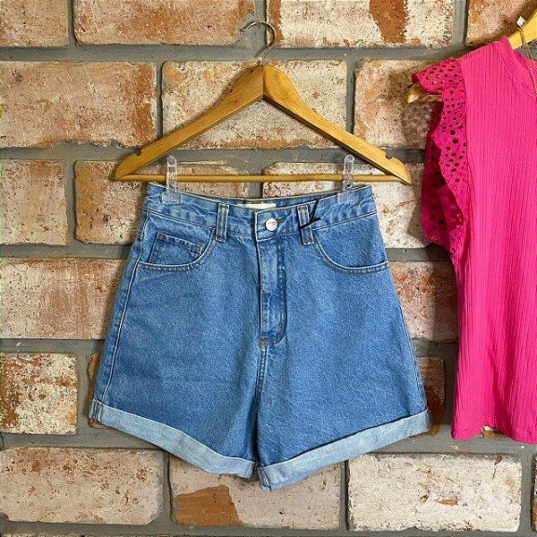 Short Mom Jeans Lavagem Clara Lady Rock