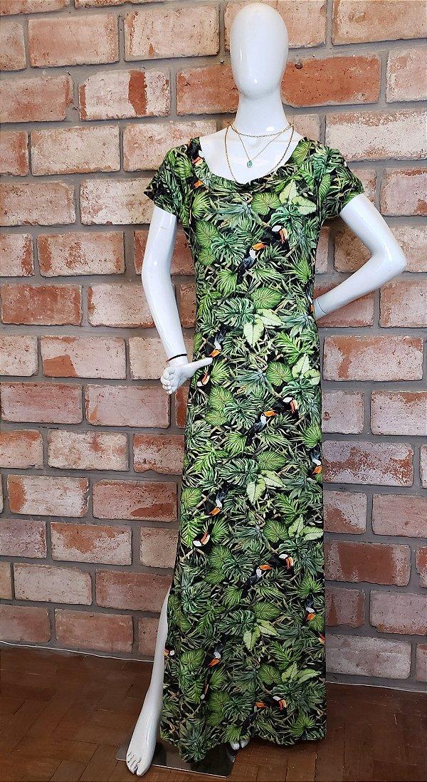 Vestido Longo Malha Floral Tucanos