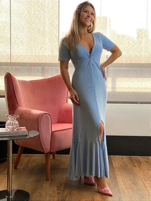 Vestido Midi Canelado Azul Bebê