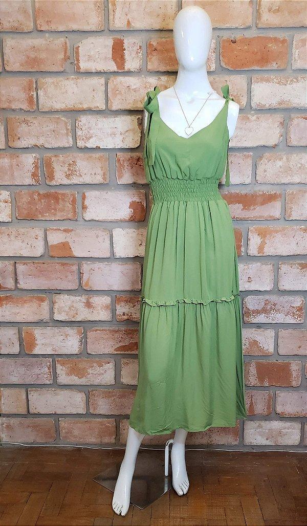 Vestido Midi c/ Lastex e Amarração Verde
