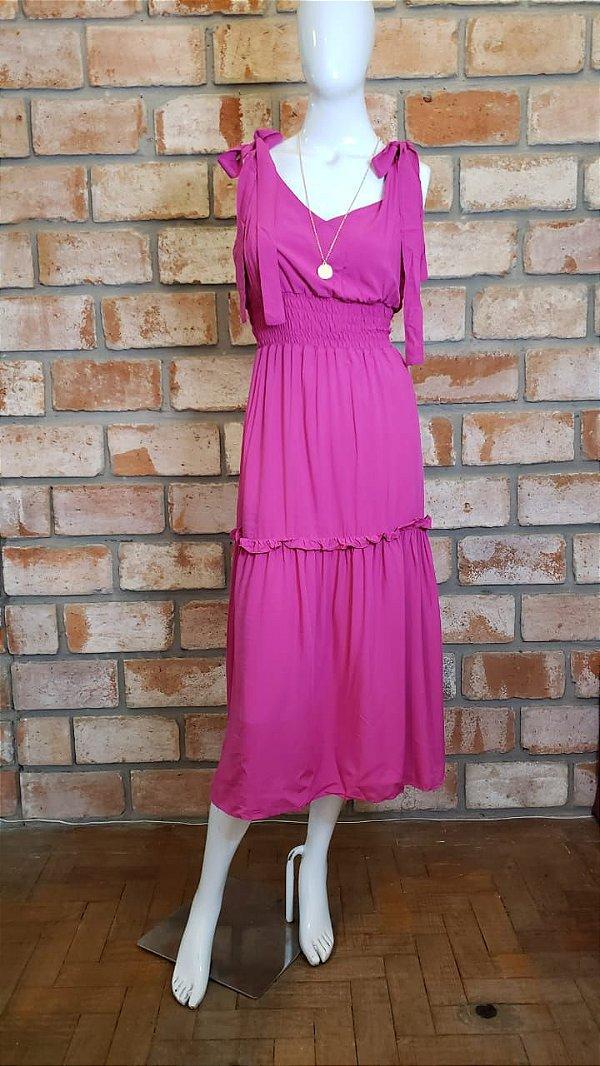Vestido Midi c/ Lastex e Amarração Rosa