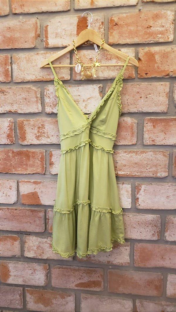 Vestido Alcinha Viscose Verde Chá