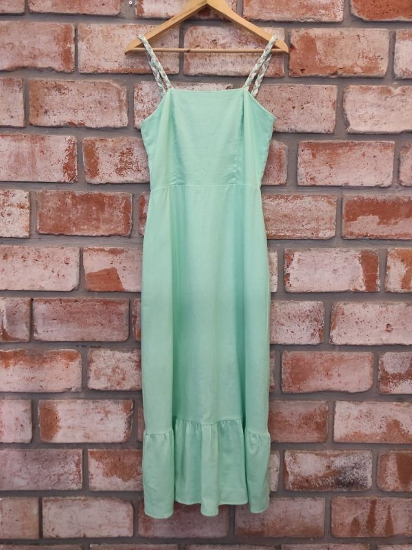 Vestido Midi Linho Verde Viés Cru
