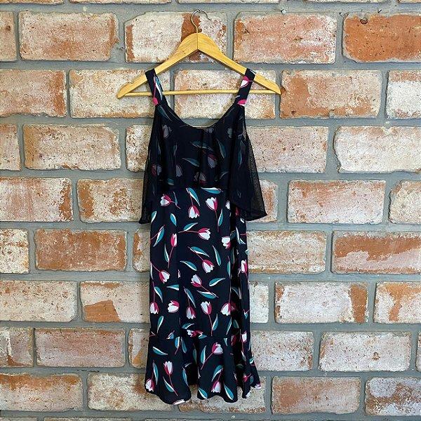 Vestido Curto Alça Tule Preto Flor