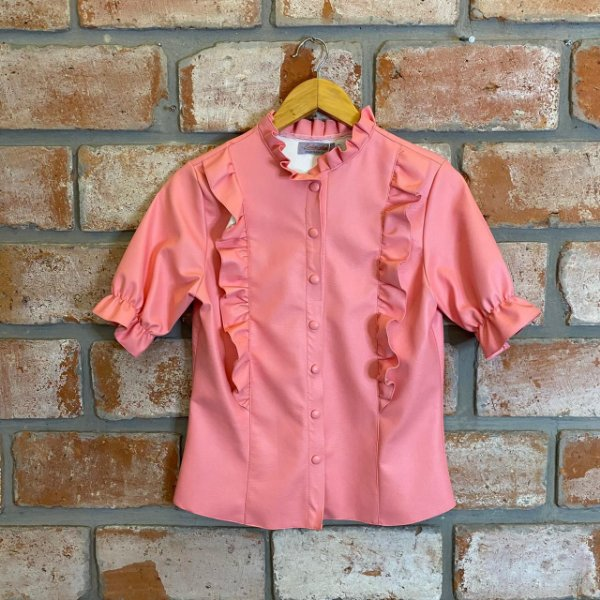 Camisa Courino Babado Rosa Chiclete