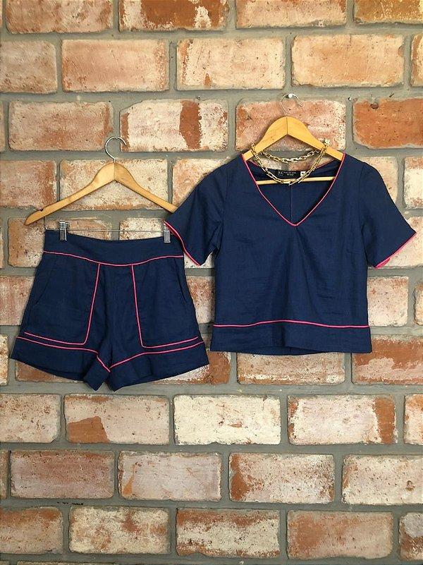Conjunto Linho Azul Jeans c/ Viés Pink