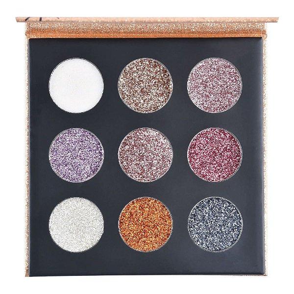 Paleta De Sombras Shine Glitter Cremoso Ruby Rose Hb-8407g