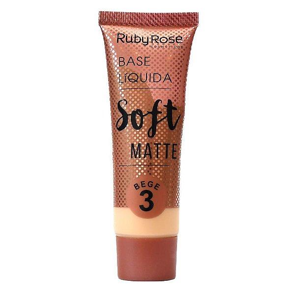 Base Líquida Soft Matte Bege Cor B03  Ruby Rose -  Hb-8050
