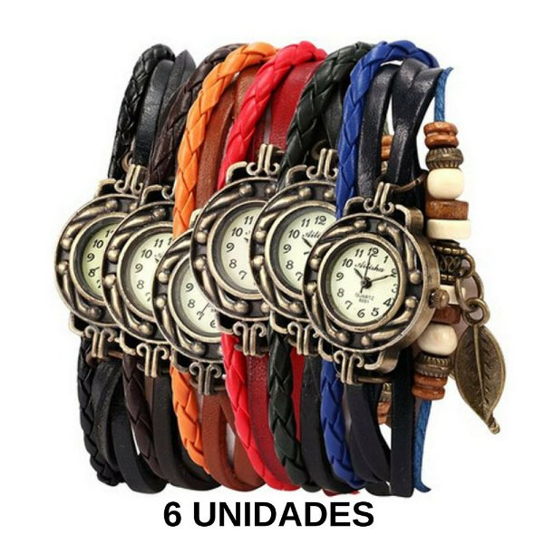 63a09c537cd 6 Relógios Braceletes Feminino Pulseiras De Couro