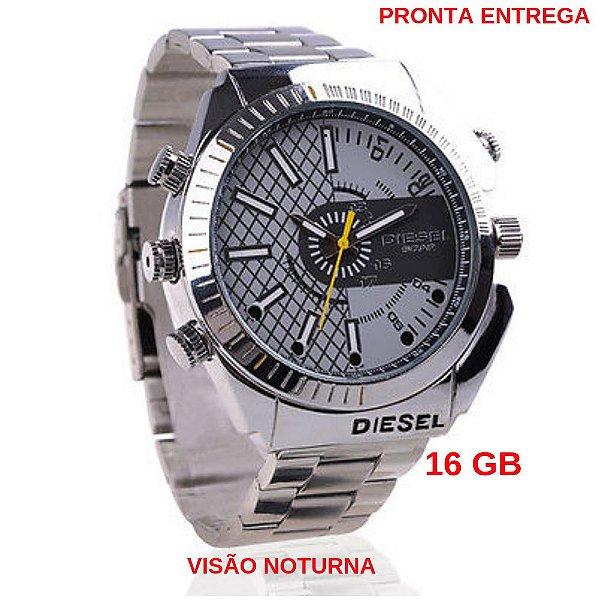 d8e104c279b Relógio Espião De Pulso 16 Gb Visão Noturna Infravermelho Câmera Espiã Full  HD