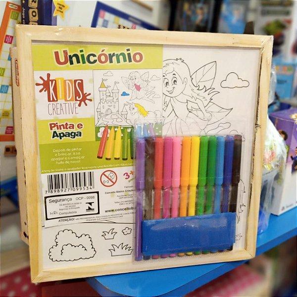 Tela Pinta e Apaga Unicornio