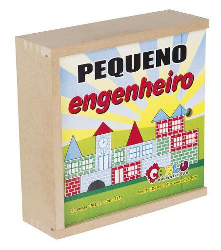 Pequeno Engenheiro 50 peças Caixa Madeira