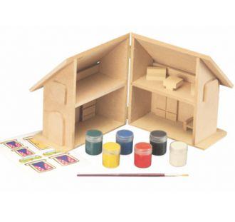Kit Pinta e Brinca Casinha com Mini Móveis e Adesivos