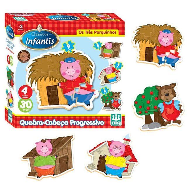 Quebra-Cabeça progressivo - Os três porquinhos