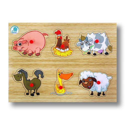 Quebra Cabeça c/ Pinos - Animais da Fazenda