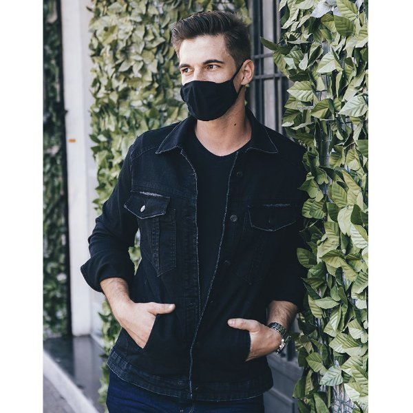 jaqueta jeans prs black com puídos
