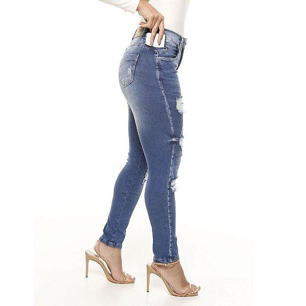calça jeans prs skinny seca barriga destroyer clara