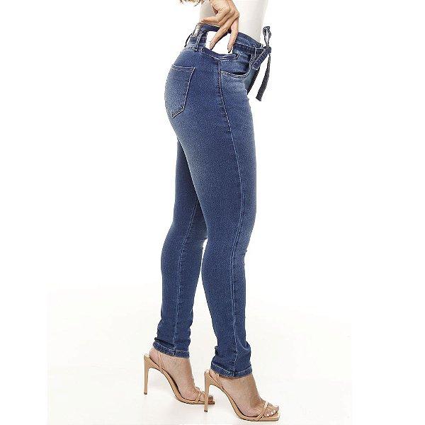 calça jeans prs skinny estonada com cinto