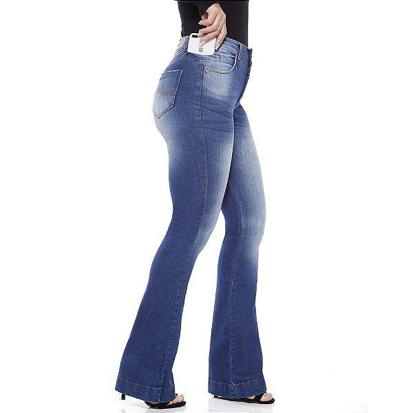 calça jeans prs flare seca barriga clara