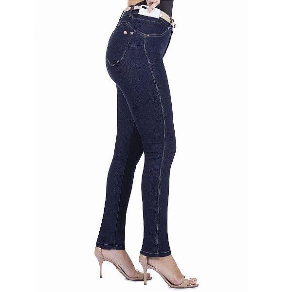 calça jeans prs skinny amaciada com cinto