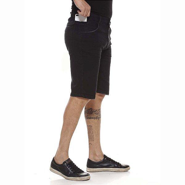 bermuda jeans prs preta puídos