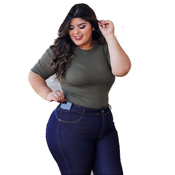 calça jeans prs plus size azul