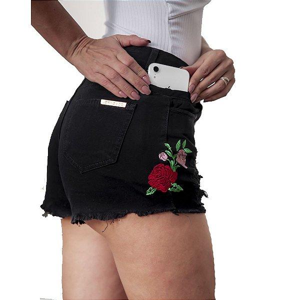 shorts cintura alta prs preto curto
