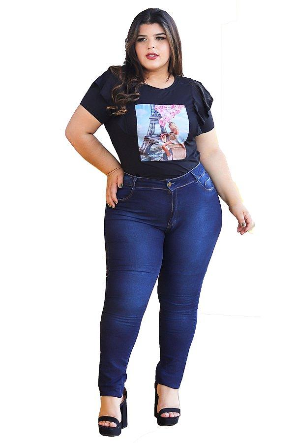calça jeans prs plus size azul puídos