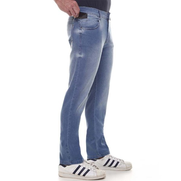 calça jeans prs comfort azul clara