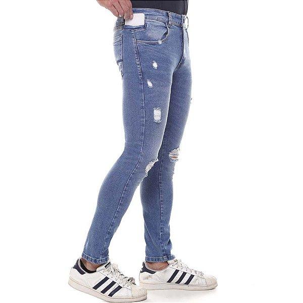 calça jeans prs super skinny destroyed