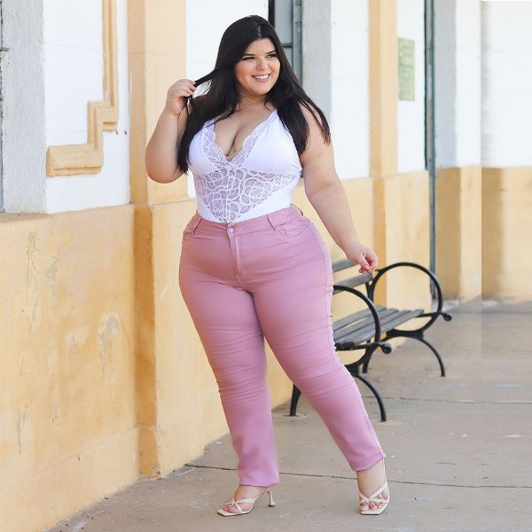 calça sarja prs plus size rosa