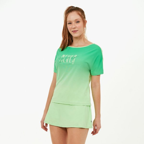 T-Shirt Alto Giro Skin Fit Decote Canoa e Silk Verde Joy 2111737