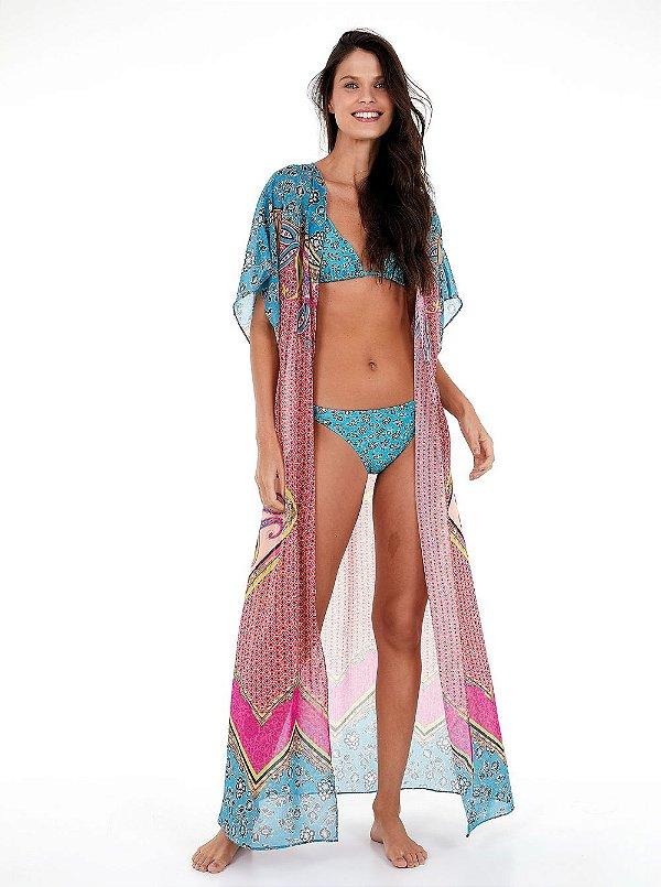 Quimono New Beach Longo Chiffon Localizado Etno Fabric Rosa/Azul/Amarelo