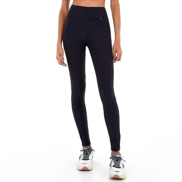 Calça Legging Alto Giro List Groove Textura Com Recortes Preto