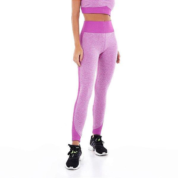 Calça Legging Alto Giro Sem Costura Mescla Colors Pink Orchid