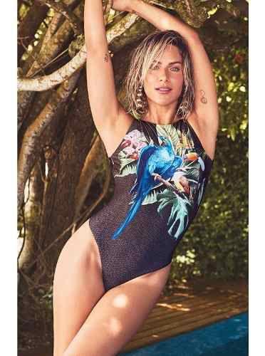 Body New Beach Trilobal Localizado Preto Giovanna Ewbank