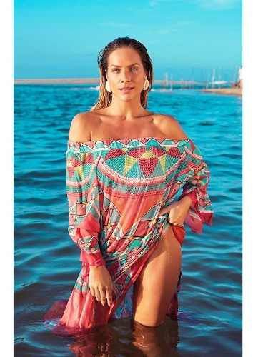 Kaftan New Beach Chiffon Ombro A Ombro Miraflores