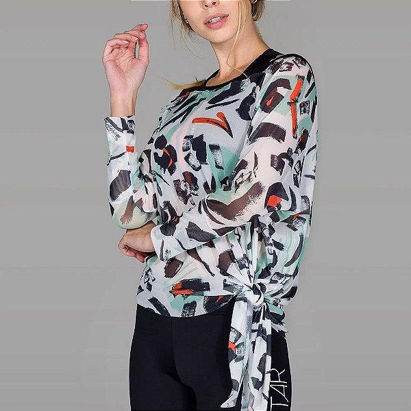Blusa Estampada de Tule com Pontas Assimétricas De Chelles