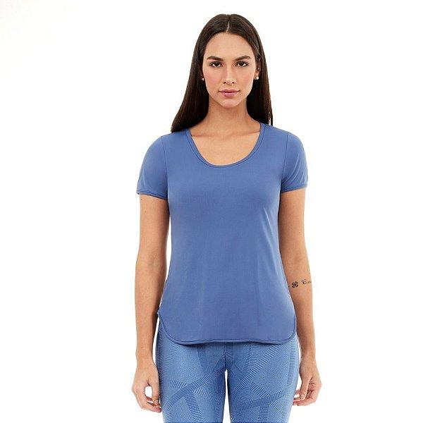 T-Shirt Alto Giro Skin Fit Alongada Azul Moonlight 2111702