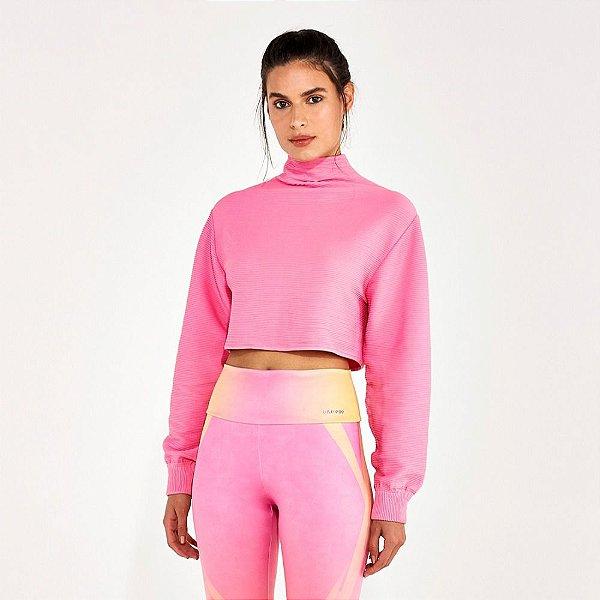 Blusa Cropped Alto Giro Biodegradável Sem Costura  Rosa 2112934