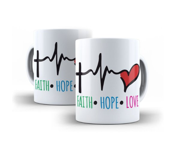 Caneca Faith Hope Love