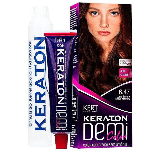 Coloração Semipermanente Keraton Demi Color 6.47 - Louro Escuro Cobre Marrom