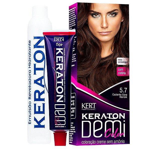 Coloração Semipermanente Keraton Demi Color 5.7 - Castanho Claro Marrom