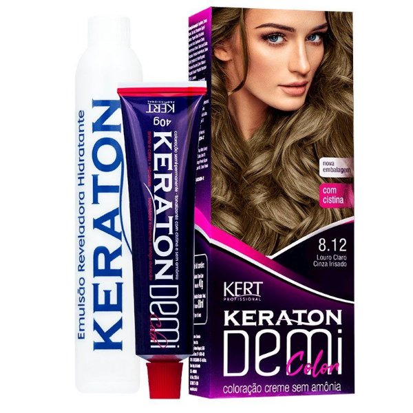 Coloração Semipermanente Keraton Demi Color 8.12 - Louro Claro Cinza Irisado