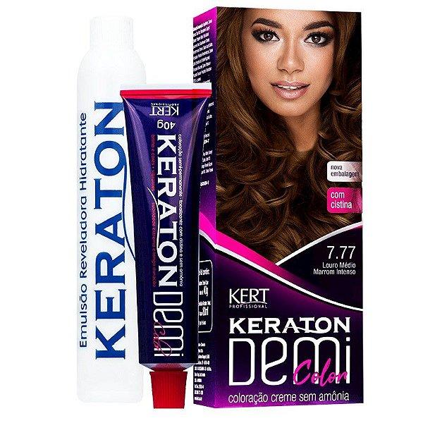 Coloração Semipermanente Keraton Demi Color 7.77 Louro Médio Marrom Intenso