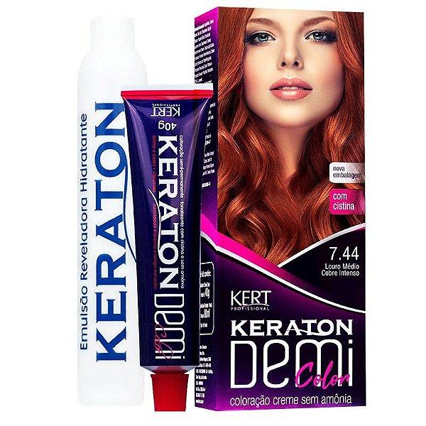 Coloração Semipermanente Keraton Demi Color 7.44 - Louro Médio Cobre Intenso