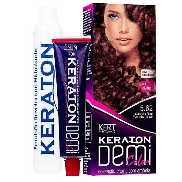 Coloração Semipermanente Keraton Demi Color 5.62 - Castanho Claro Vermelho Irisado