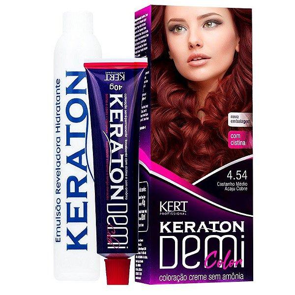 Coloração Semipermanente Keraton Demi Color 4.54 - Castanho Médio Acaju Acobreado
