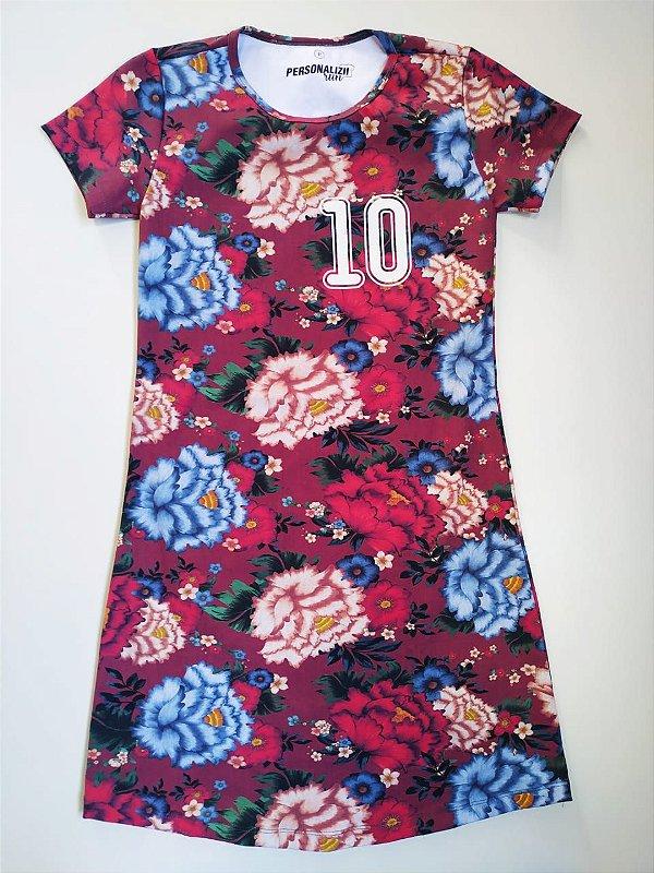 Vestido Estampado Bordô Floral 10Km